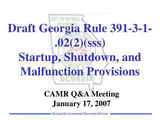 Draft Georgia Rule 391-3-1-.022sss Startup, Shutdown, and Malfunction Provisions