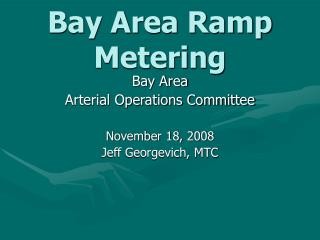 Bay Area Ramp Metering
