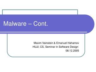 Malware   Cont.