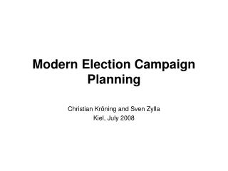 modern election campaign planning