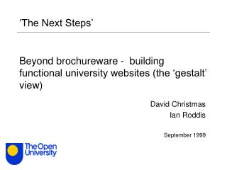 Beyond brochureware -  building functional university websites the  gestalt  view