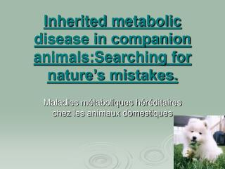 Inherited metabolic disease in companion animals:Searching for nature s mistakes.