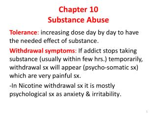 Chapter 10 Substance Abuse