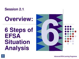 Session 2.1.     Overview:  6 Steps of EFSA Situation Analysis