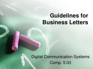 guidelines for  business letters