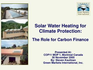 solar water heating for climate protection: the role for carbon finance
