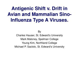 Antigenic Shift v. Drift in Avian and Mammalian Sino-Influenza Type A Viruses.