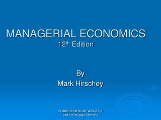 MANAGERIAL ECONOMICS 12th Edition