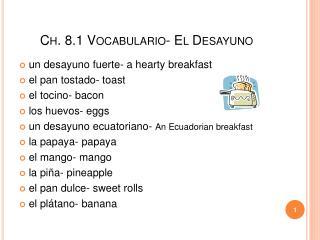 Ch. 8.1 Vocabulario- El Desayuno
