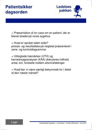 Patientsikker  dagsorden
