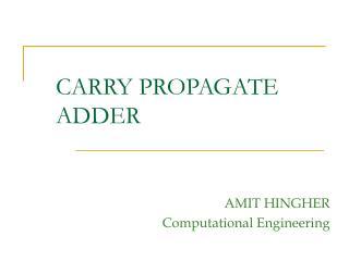 carry propagate adder