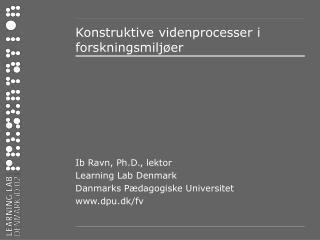 Konstruktive videnprocesser i forskningsmilj er
