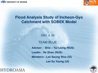 Flood Analysis Study of Incheon-Gyo Catchment with SOBEK Model