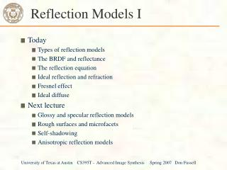 Reflection Models I