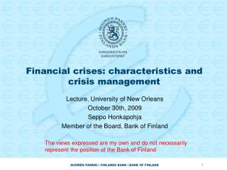 Financial crises: characteristics and crisis management