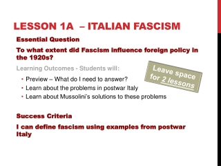 Rise and Spread of Fascism: Mussolini s Italy
