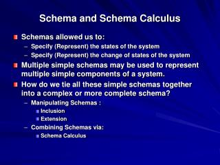 Schema and Schema Calculus
