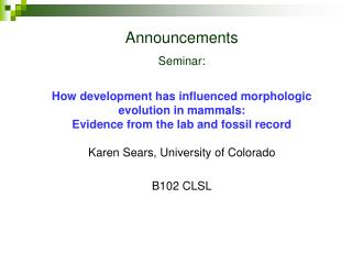 Announcements Seminar:  How development has influenced morphologic evolution in mammals:  Evidence from the lab and foss