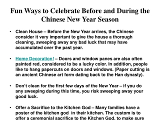 Fun Ways to Celebrate Before and During the Chinese New Year