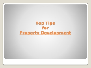 Top tips for property development