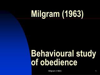 Milgram 1963