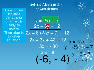 Solving Algebraically  by Substitution