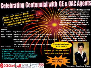 Celebrating Centennial with  GE  OAC Agents