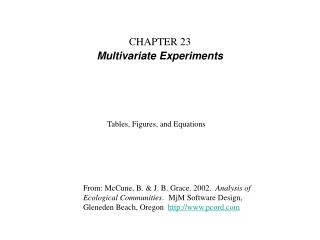 CHAPTER 23 Multivariate Experiments
