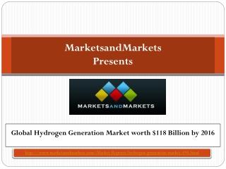 Global Hydrogen Generation Market worth $118 Billion by 2016