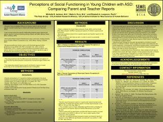 Perceptions of Social Functioning in Young Children with ASD:  Comparing Parent and Teacher Reports  Michelle B. Jackson