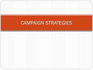Law  Gov: Campaign Strategies