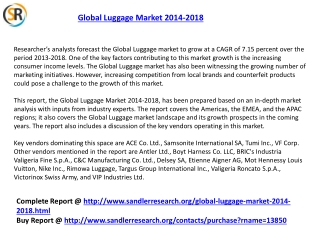 Global Luggage Market Forecasts 2014-2018