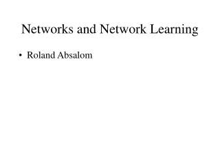Networks and Network Learning