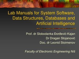 Lab Manuals for System Software, Data Structures, Databases and Artificial Intelligence