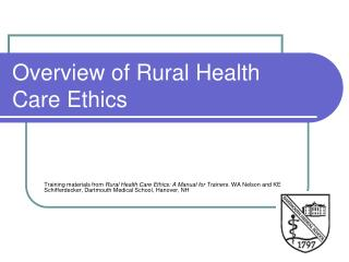 Overview of Rural Health Care Ethics