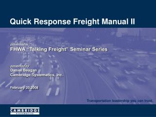 Quick Response Freight Manual II