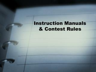 Instruction Manuals  Contest Rules