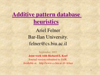 additive pattern database heuristics