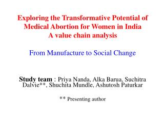 Exploring the Transformative Potential of Medical Abortion for Women in India A value chain analysis  From Manufacture t
