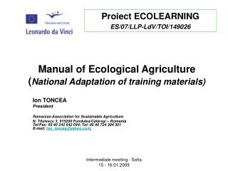 Manual of Ecological Agriculture National Adaptation of training materials