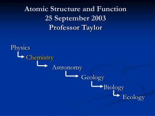 Atomic Structure and Function 25 September 2003 Professor Taylor