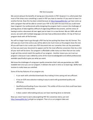 PDF XLS Converter