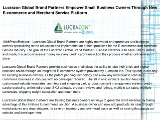 Lucrazon Global Brand Partners Empower Small Business Owners