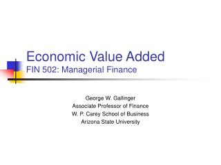 economic value added fin 502: managerial finance