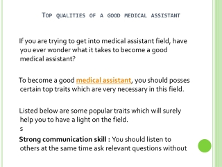 How To Become A Good Medical Assistant