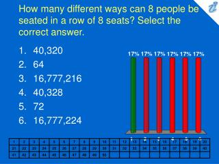 How many different ways can 8 people be seated in a row of 8 seats Select the correct answer.