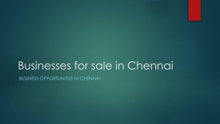 Businesses for sale in chennai