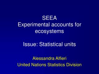 SEEA Experimental accounts for ecosystems  Issue: Statistical units