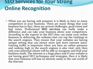 SEO Services for Your Strong Online Recognition