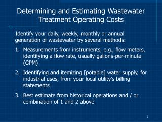 determining and estimating wastewater treatment operating costs